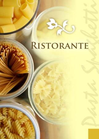 menu title of an italian pasta restaurant Stock Photo