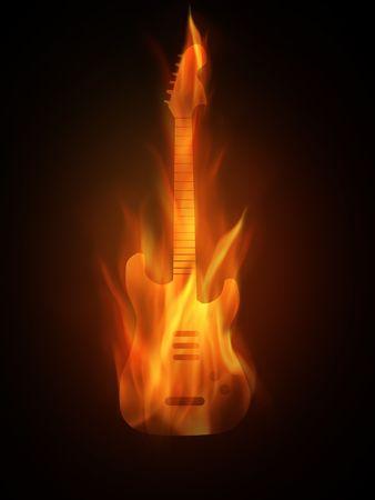 Le contour brûlant d'une guitare Banque d'images - 5593618