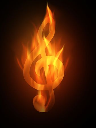 The hot burning contour of a clef Stock Photo