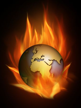 end of the world: The hot burning world with many flames Stock Photo
