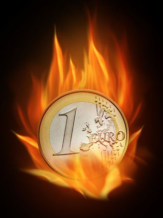 The hot burning euro with many flames