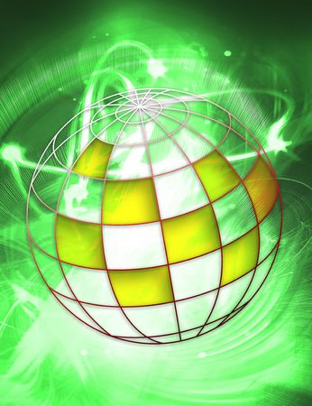 circling: illustrated and painted an abstract colored world  Stock Photo