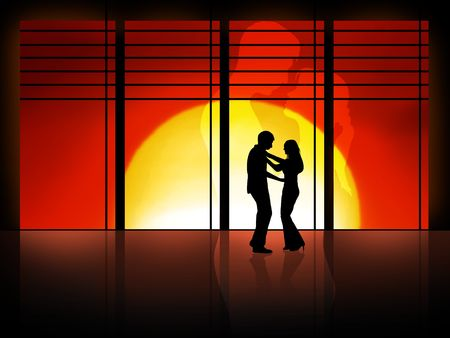 couple is dancing in front of a high window photo
