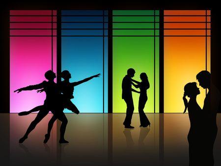 bailarin hombre: pareja est� bailando en frente de una ventana alta Foto de archivo