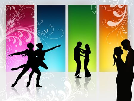 salsa dancer: couple is dancing in front of a high window Stock Photo