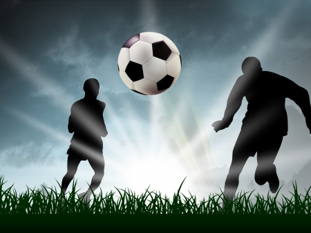 any teenager are playing soccer in the grass Stock Photo