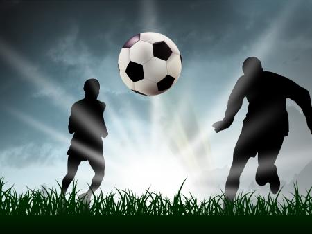 futbol soccer dibujos: cualquier adolescente est�n jugando al f�tbol en la hierba Foto de archivo