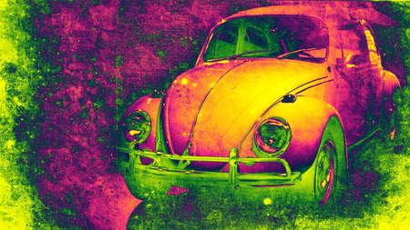 escarabajo: viejo coche de los a�os setenta en estilo retro  Foto de archivo