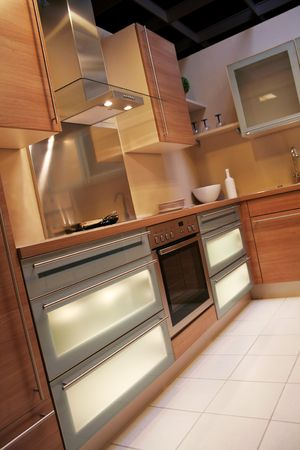 armoire cuisine: d�tail dans une cuisine moderne et nouvelle