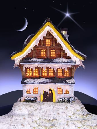 lighted christmas house in a dark holy night photo