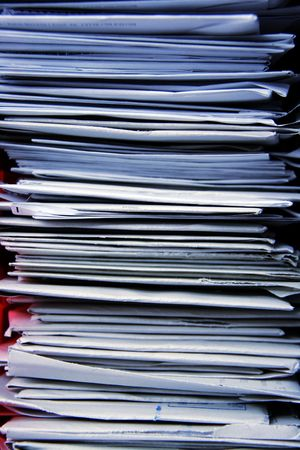 unorganized: bunch of paper mails in the office Stock Photo