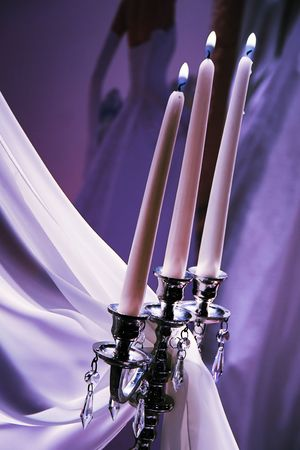candles, decorations with vail on a wedding day  photo
