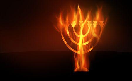 Le contour brûlant d'une menorah Banque d'images - 5892291