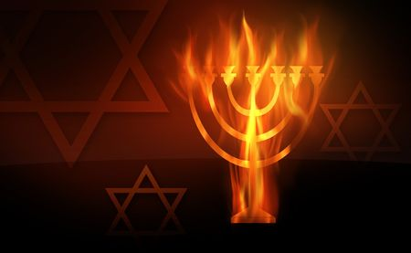 The hot burning contour of a menorah Stock Photo