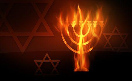 menorah: The hot burning contour of a menorah Stock Photo