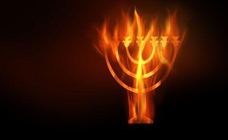 Die hot brennenden Kontur eine Menora