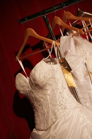 the dress of the bride on a hanger Stock Photo