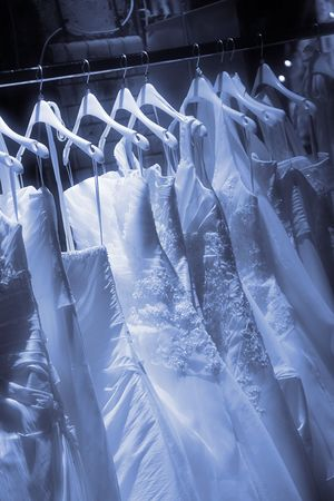 buying stock: the dress of the bride on a hanger Stock Photo