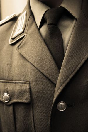 coat and tie: necktie and coat of an old military general