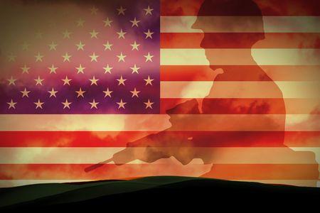Silhouettes de toute soldats dans new york  Banque d'images - 6015386
