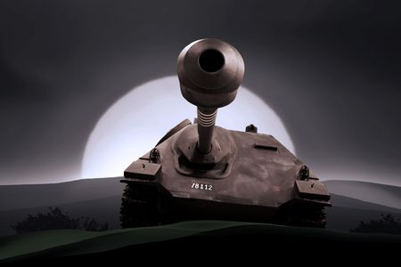 garrison: silhouettes of any Soldiers in war with tank