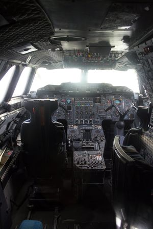 cockpit with instruments of an old plane photo