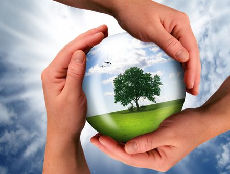 environmental safety: the world should be saved by the creator Stock Photo