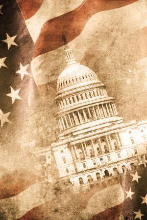 democracy: old capitol washington D.C. in retro design look