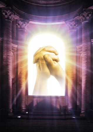 prayer hands: Chiesa di legno con le mani di una preghiera Editoriali