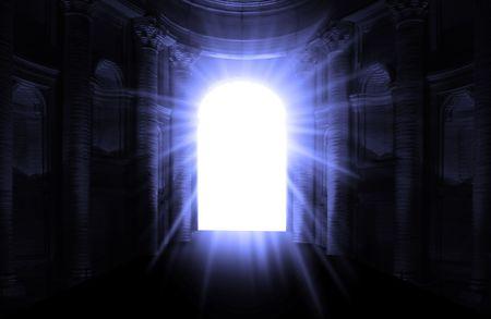 psychisch: Kijkend door de tunnel na de dood en overlijden  Stockfoto