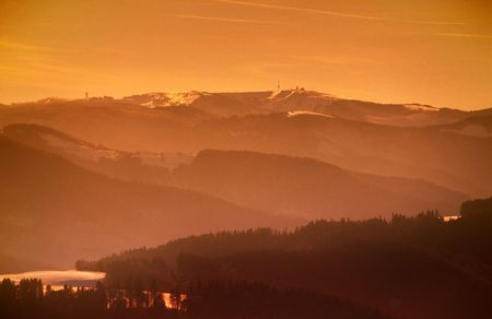 Montains with feldberg in the black forest germany photo