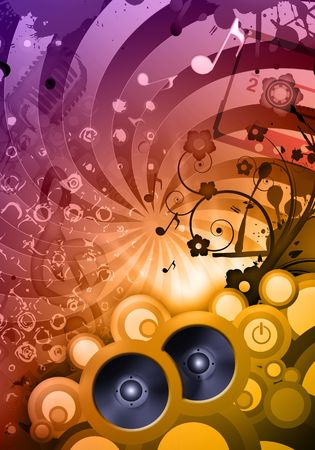 dancefloor: Colorful composition of a sound party at the disco Stock Photo