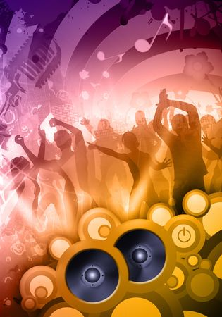 Colorful composition of a sound party at the disco Stock Photo