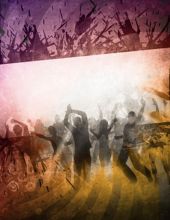 mangy: party poster with people in retro style Stock Photo