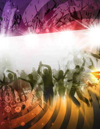 Poster de la partie avec des personnes en style rétro Banque d'images - 6290062