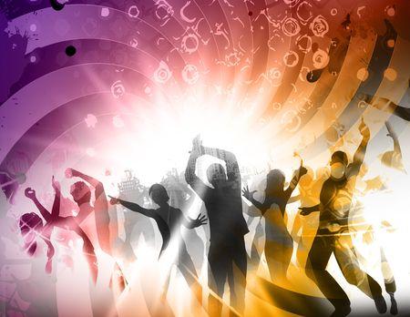 dancefloor: multi colored party poster  in retro style Stock Photo