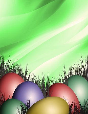 any colored easter eggs in the green grass photo