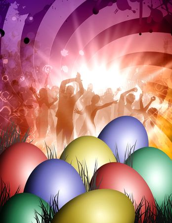 abstract dance: celebrate the party with any colored easter eggs