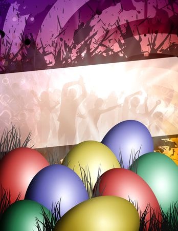 celebrate the party with any colored easter eggs Stock Photo - 6290050