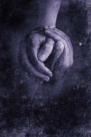 dos manos agitando en apariencia de diseño retro  Foto de archivo