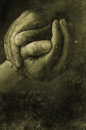 amistad: dos manos agitando en apariencia de dise�o retro