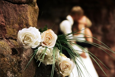 beautiful bride: Wedding on a castle with romantic white roses  Stock Photo