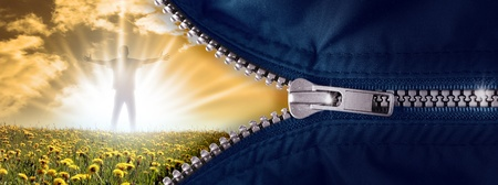 zipper: opened zipper with the hero in the sun Stock Photo