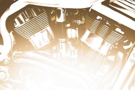 Puissant moteur de vélo d'un vieux chopper Banque d'images - 9248852