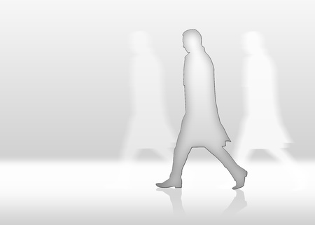 paranoia: Man is walkin fast and alone in front of white background