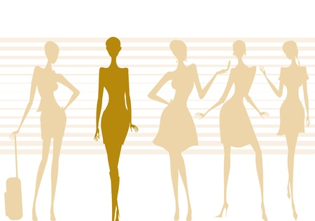 illustration of five silhouettes of modern women posing Stock Photo