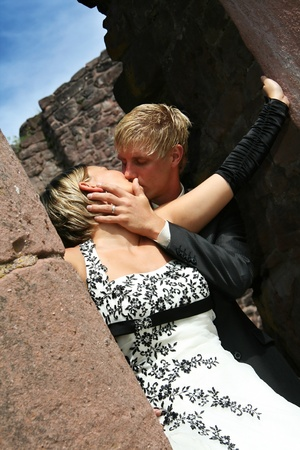 Bride and Groom in love on wedding day photo