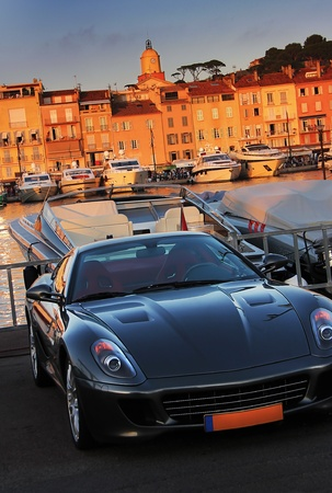 french riviera: the nice sporting car in front of the houses of saint tropez Stock Photo