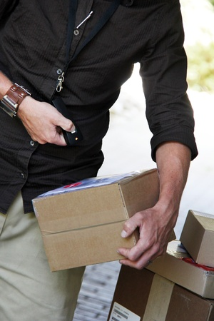 Parcel delivery with  parcel label barcode scanning