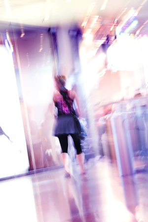 blurred unrecognizable people in motion in a shopping mall Stock Photo - 10569785